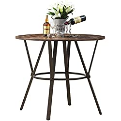 "O&K Furniture 42""W Industrial Round Dining Table, Wooden Top with Sturdy Metal Frame Bar Bistro Table, Pub Height Dining Cocktail Table, 1 PC, 35.8""Height"