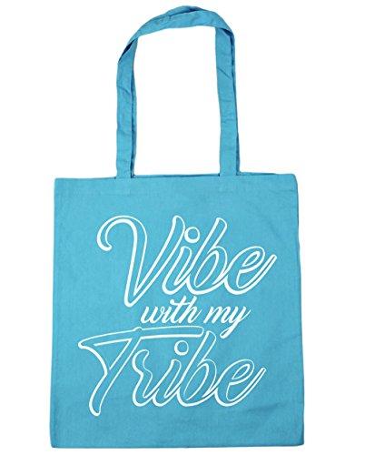 HippoWarehouse Vibe con mi tribu Tote Compras Bolsa de playa 42cm x38cm, 10litros azul (Surf Blue)