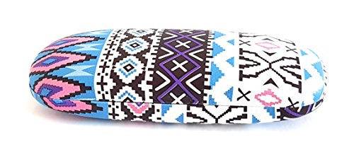 Hard Protective Clam Shell Eyeglass Case Aztec Ethnic Pattern Design Medium Size - Eyeglass Frames Hip