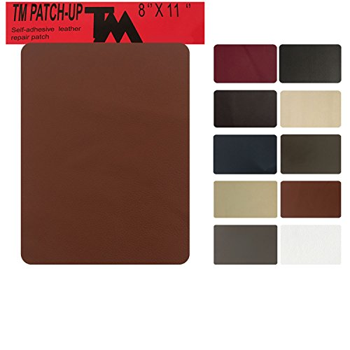 Large Tan Leather (Leather and Vinyl repair patch by TMgroup, genuine faux leather repair patch, peel and stick for couch, sofas, car seats, hand bags,furniture, jackets, large size 8 x 11 inches (Tan))