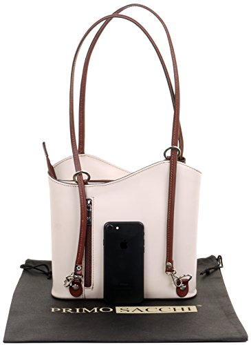 And Bag Pack Back Made Leather Storage Handbag amp; Branded Cream Medium Hand Protective Brown Italian Sacchi Large A Bag Shoulder Primo Versions Includes xzqn4Px