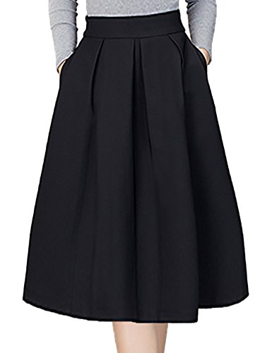 Plus Size Skirts,Bebonnie Women's Pleated High Waisted A Line Knee Length Ruffle Skater Structured Flared Midi Fall Skirts Black XXL