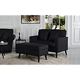 Mid-Century Modern Living Room Large Accent Chair with Footrest/Storage Ottoman