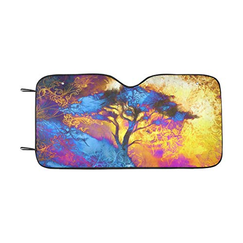 InterestPrint Painting Tree Space Landscape and Ornamental Mandala Windshield Sunshade for Car SUV, Auto Front Window Sun Shade Visor Shield Cover, 55