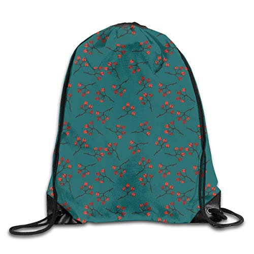 Modern Berries Bedding - Unisex Drawstring Bag Gym Bags Storage Backpack,Whimsical Modern Style Berry Christmas Pattern Hand Drawn Rustic Traditional