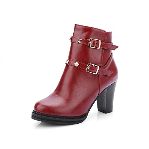 AmoonyFashion Womens Soft Material Closed Round Toe Solid Low-Top High-Heels Boots Red kVencnIZ9