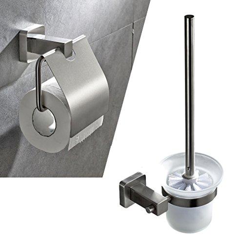 Auralum® Chrom WC bürste WC-Garnitur Papierhalter Klobürste Bürstengarnitur Bürstenhalter Matt mit eckige Basis