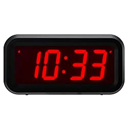 Timegyro Small Wall/Shelf/Desk Digital Clock Only Battery Operated with 1.2 Large Display. 4pcs Batteries Can Keep The Time Display Day and Night for More Than One Year (Black)