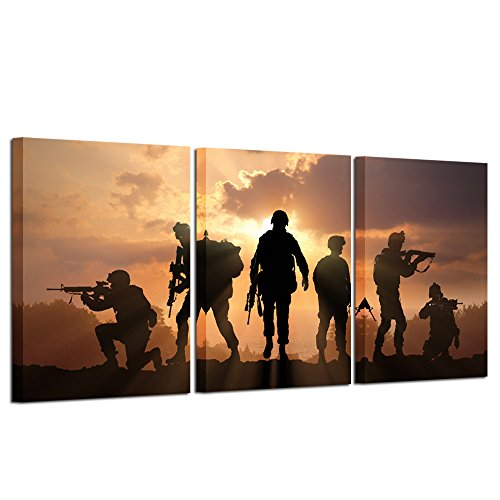 Hello Artwork - Military Family Canvas Wall Art Six Military Soldier with Gun on Sunset Picture Prints Gallery Wrap Modern Home Decor Ready to Hang (3Panel)