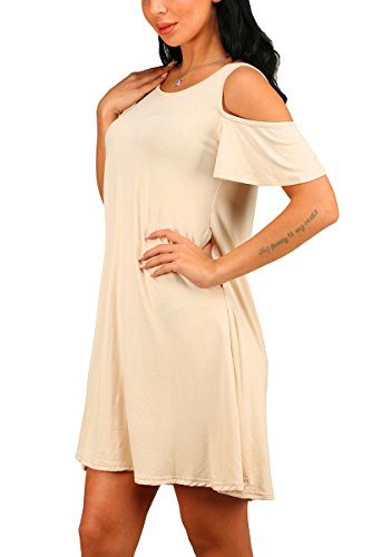 Pockets Swing Loose with Women's Casual Shirt Beige T Cold Dress Summer BYM Shoulder p6qTWg