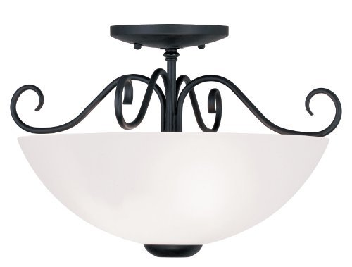 Livex Lighting 4461-04 Heritage 2-Light Ceiling Mount, Black by Livex Lighting