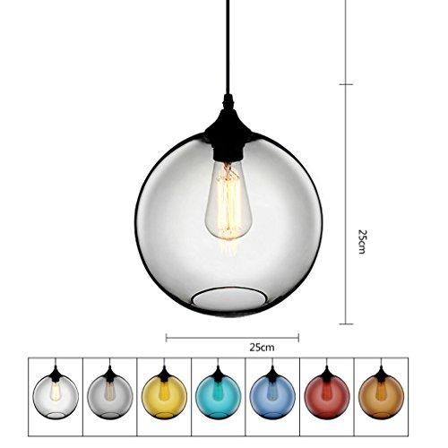 Lampe Suspension Plafond Lustre En Verre Creative Personnalité E27 Plafonnier Restaurant Restaurant Cafe Bar Décoration Lustres (Couleur   L, Conception   Rouge)