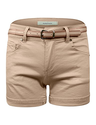 makeitmint Women's Casual Must Have Belted Cuffed Shorts w/Pocket [5 Colors] YBS0038-KHAKI-LRG ()