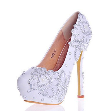 Comfort Dress Leather Sparkling Glitter Party Spring Crystal Us9 Heel Cn41 Heels White Wedding Eu40 Stiletto amp;Amp; 5 EU37 7 5 Novelty Women'S Evening Zormey UK4 Summer Fall US6 5 CN37 Uk7 Patent wO8UXqx