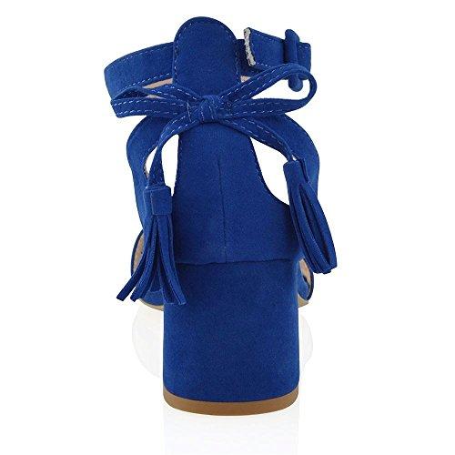 Donna Cinturino Tacco Finto Fiocco Cut Scamosciato GLAM Blu Blocco Out Sandalo a Caviglia ESSEX Finto Scamosciato q6awE7vx0