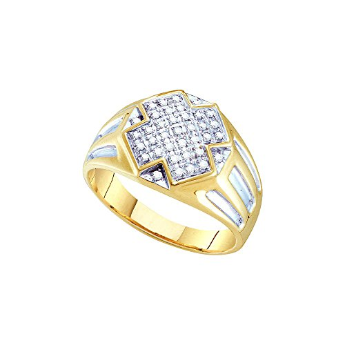 10kt Yellow Two-tone Gold Mens Round Diamond Cross Cluster Ring 1/4 Cttw by JAWAFASHION