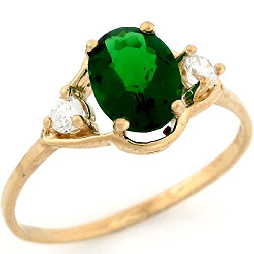 Jewelry Liquidation 10k Solid Yellow Gold 8x6 mm Oval Simulated Emerald May Birthstone CZ Ring