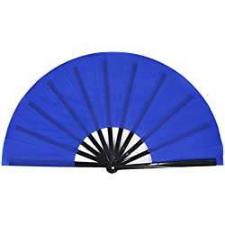 Amajiji Large Folding Fan, Chinease/Japanese Folding Silk Hand Fan, Women Hand Folding Fans Hand Fan Gift Fan Craft Fan Folding Fan Dance Fan (Blue)