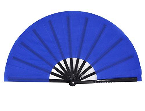 Amajiji Large Folding Fan, Chinease/Japanese Folding Nylon-Cloth Hand Fan, Women Hand Folding Fans Hand Fan Gift fan Craft fan Folding Fan Dance Fan (Blue)