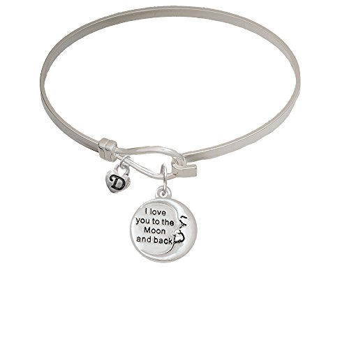I Love You to the Moon and Back Mini Logo Heart Latch Bangle Bracelet