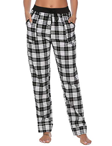 (Aibrou Women's Pajama Pants 100% Cotton Flannel Plaid Lounge Pants Bottoms Black)