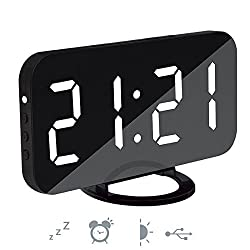 Modern Black Desk Alarm Clock ixaer Digital Led Alarm Clock with USB Charging Output Port Large LED Digits Display Snooze Table Clock Easy to Read in Distance