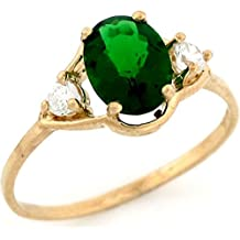 10k Solid Yellow Gold 8x6 mm Oval Simulated Emerald May Birthstone CZ Ring