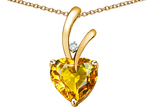 Star K Heart Shape 8mm Genuine Citrine Endless Love Pendant Necklace 10 kt Yellow Gold