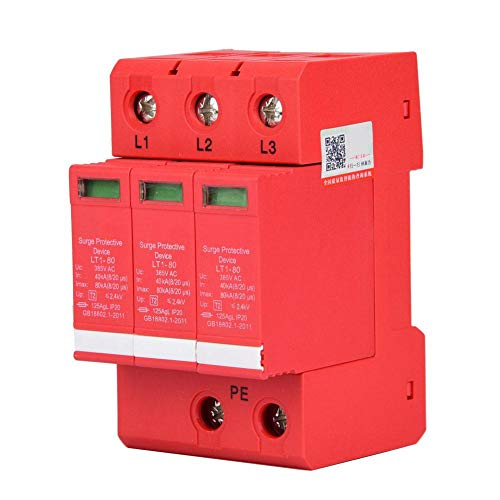 House Surge Protector, 3P / 4P 65/80 KA 385 V Low Voltage Detention Device, Fireproof Enclosure, Fireproof, for Appliance Protection and Safety(3P80KA)