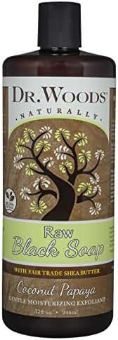 Dr. Woods Raw Moisturizing Black Coconut Papaya Soap with Organic Shea Butter, 32 Ounce