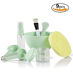 Teenitor DIY Facemask Mixing Tool Kit with Big Volume Mask Bowl Spatula Brush Spray Bottle Puff Soaking Bottle Gauges Pack of 9 Green