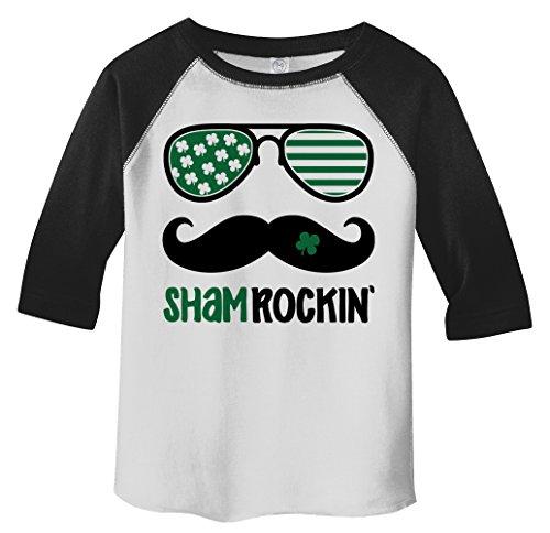 Shirts By Sarah Toddler Sham Rockin' Hipster ST. Patrick's Day T-Shirt Funny Shirt Glasses Raglan 3/4 Sleeve(Black/White - Glasses Hipster Toddler