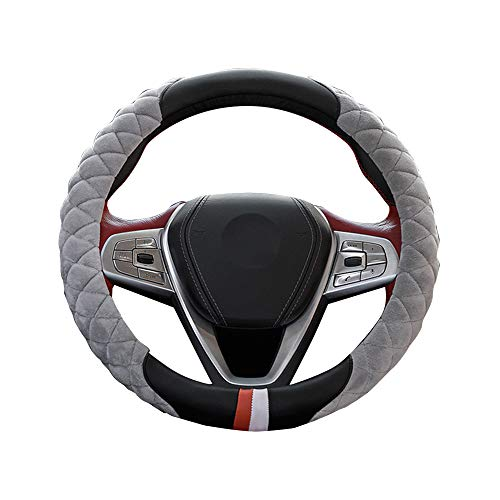 Price comparison product image Sonmer Car Steering Wheel Anti-Slip Leather Plush Cover,  15inch