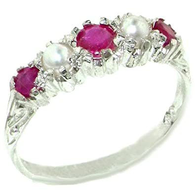 925 Sterling Silver Natural Ruby and Cultured Pearl Womens Band Ring – Sizes 4 to 12 Available
