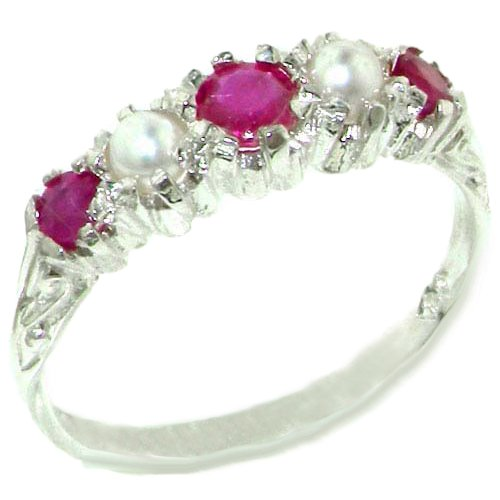 14k White Gold Natural Ruby and Cultured Pearl Womens Band Ring Sizes 4 to 12 Available