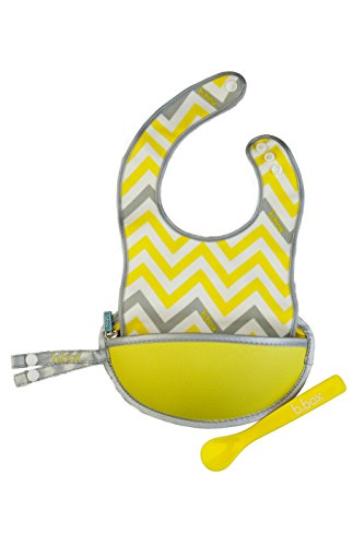 b.box Travel Bib and Flexible Soft-bite Spoon | Mellow Lellow Pattern | Adjustable Neck Strap | BPA-Free | Phthalates & PVC Free | Easy Wipe Clean Fabric | Folds up into its own pouch