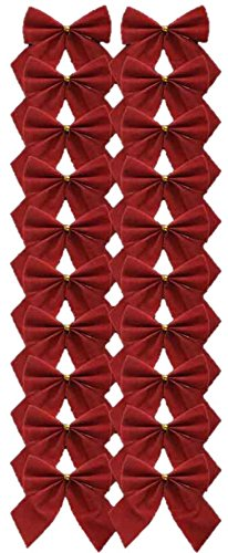 20 Red Velvet Flock Ribbon Bows Christmas Tree Decoration Party Gift Present Craft Art Xmas Festive Wreath Wire Concept4u