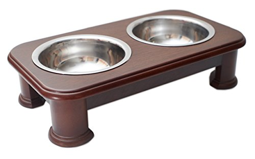 Premium Elevated Pet Feeder By Pawridge - Luxury Solid Wood Stand elevated dog bowl & 2 Food Grade Stainless Steel dog Bowls - Improves Your Pet's Digestion - Suitable For Small / Medium Dogs & Cats by Pawridge (Image #6)