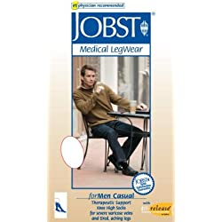 BSN Medical 113145 Jobst for Men Casual Sock, Knee High, 30-40 mmHG, Closed Toe, Full Calf, X-Large, Khaki