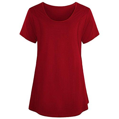 Toimothcn Women Maternity Nursing Breastfeeding Pregnant Shirt Top Blouse Shirt (Red,2XL) ()