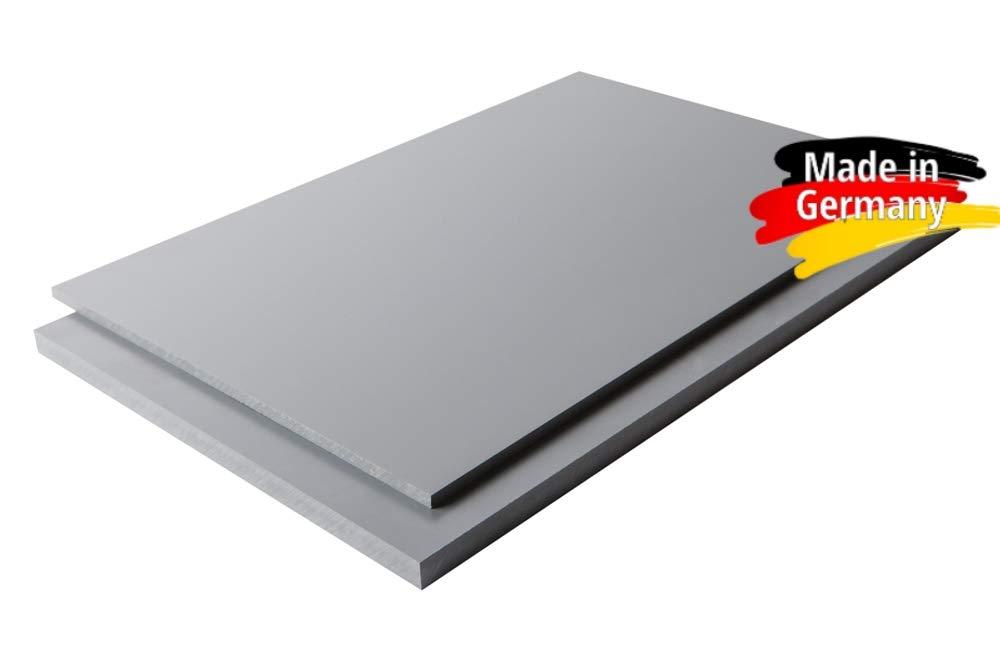 1000 x 1000 x 8 mm grau PVC Zuschnitt RAL 7011 alt-intech/® Platte aus Hart PVC