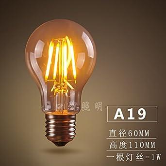 Bombilla LED edsion Vintage Retro emulación transparente de tungsteno resalte amarillo cálido E27 E14 Tornillo fuente luminosa decoración de cristal ,6,un ...