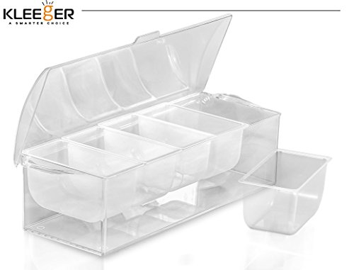 Kleeger Chilled Condiment Server With Lid: 5 Removable Compartments, Bottom Fills With Ice by KLEEGER (Image #2)