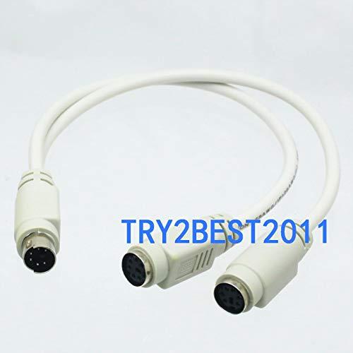 FidgetGear PS/2 Splitter Cable 6 Pin Mini Din 1 Male to 2 Female Socket fr Keyboard/Mouse