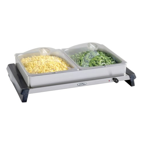 Broil King NBS-2SP Professional Double Stainless-Steel Buffet Server with Plastic Lids