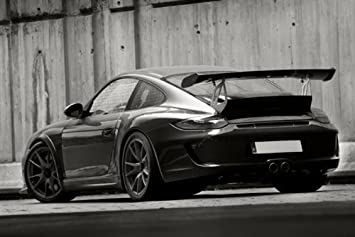 Porsche 911 997 GT3RS Phase 2 GT3 RS Left Rear Black and White HD Poster Super