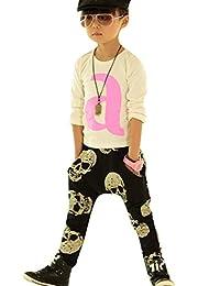 LaLaMa Little Boys Cartoon Skull Printed Long Trousers Casual Harem Pant 0-4T
