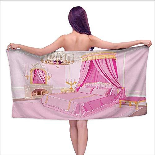 smallbeeflyyyyy Bath Towel 3D Digital Printing Set Princess,Interior of Magic Princess Bedroom Old Fashioned Ornament Pillow Mirror Print,Pink Yellow,W10 xL39 for Kids Mickey Mouse - Mirror Princess Hello Kitty
