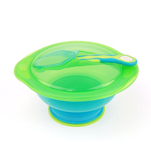 Vital Baby Unbelievabowl Suction Bowl with Lid & Spoon, Blue