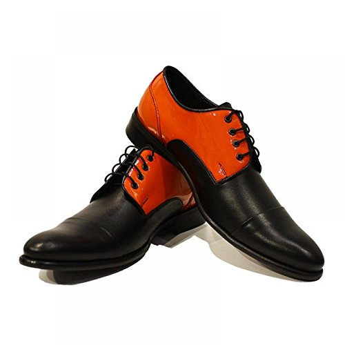 Orange et noir Chaussures pour hommes ŽlŽgants - main Colorful italiennes en cuir Souliers simple Oxfords formelle prime uniques Souliers de Vintage Gift Lace Up Robe Hommes